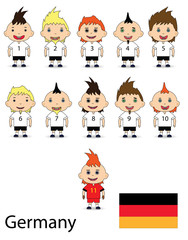 Germany football team on a white background. raster