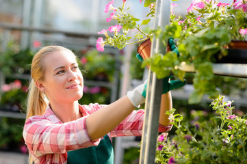 Female garden center worker with potted flowers