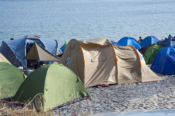 Tents on the beach, Marina di Camerota, Italy