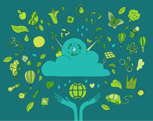 Eco Friendly, save earth concept, vector illustration