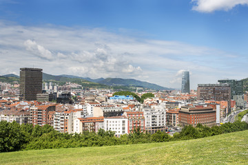 Aerial views of Bilbao city, Bizkaia, Basque country, Spain.