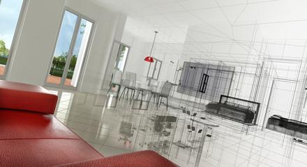 Appartamento, Rendering 3d progetto, interni