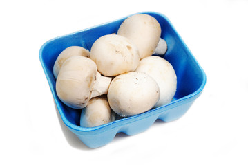 White Mushrooms in a Blue Market Container