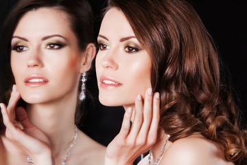 fashion portrait of beautiful elegant sexy brunette female model