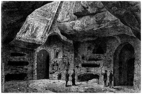 Early Christianity : Catacomb Cemetery (View 19th century) - 65994925