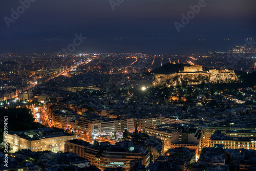 Staande foto Athene Athens by night