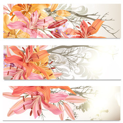 Business cards set in floral style with lily flowers