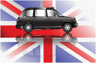 London taxi in the background of the British flag