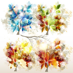 Collection of vector colorful trees for design