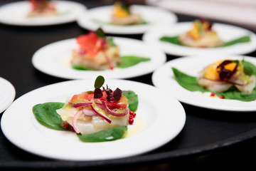 Sea scallop carpaccio dishes
