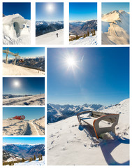 Collage of ski resort Bad Gastein,cableway in Austria