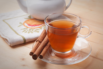 Cup of tea with cinnamon
