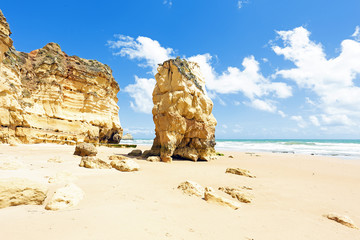 Natural rocks at Praia da Rocha in Portugal