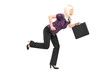 Businesswoman with briefcase running