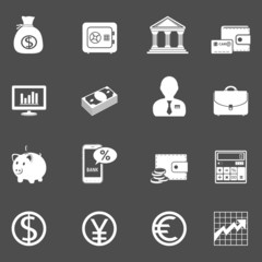 Business and finance white icons on dark background.