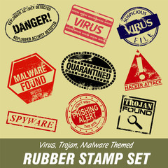 Virus and Trojan Themed Rubber Stamp Set