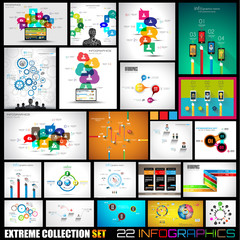 Collection of 22 Infographics for social media and clouds.