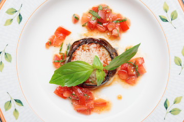 Eggplant with cheese and tomato