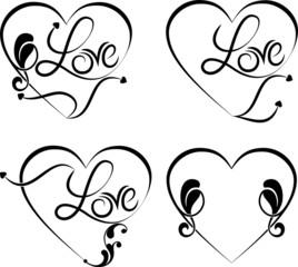 Love Heart Tribal tattoo Design