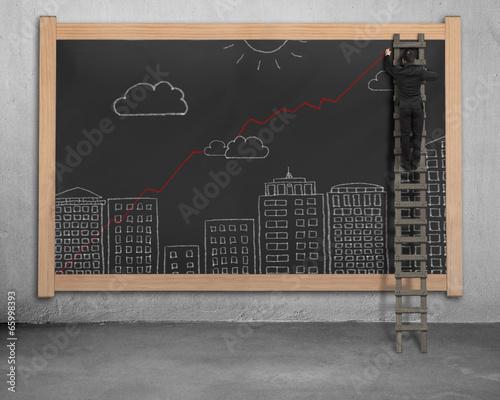 Businessman standing wooden ladder drawing