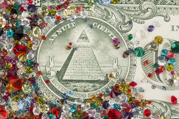 Crystal and banknotes.
