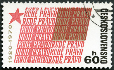 "CZECHOSLOVAKIA - 1970: 50th anniv. of ""Rude Pravo"" newspaper"