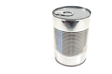 Closed tin can  isolated on white