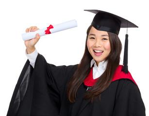 Graduate student hold diploma