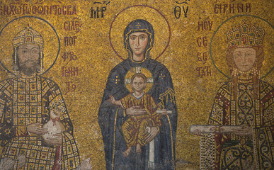 Mosaic detail Jesus Christ with Constantine in Hagia Sophia