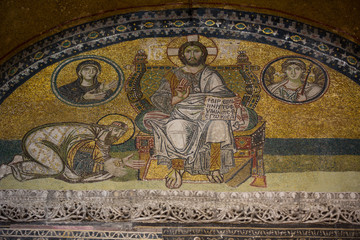 Mosaic detail Jesus Christ with VI. Leon in Hagia Sophia