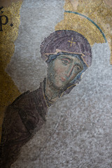 Mosaic detail Virgin Mary in Hagia Sophia