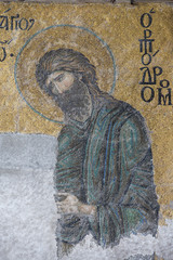 Mosaic detail John the Baptist in Hagia Sophia