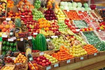 Shelf with fruits on a farm market