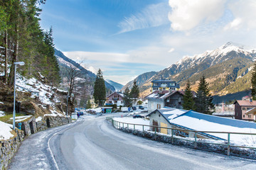 Ski resort town Bad Gastein in winter snowy mountains