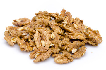 Heap of opened walnuts