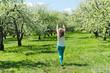 Girl walking in the park. summertime