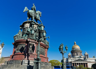 Saint Isaac's Cathedral and the Monument to Emperor Nicholas I,