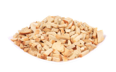 Croutons in a porcelain plate.