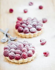 Raspberry tart on the table