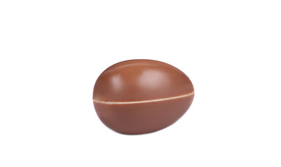 Chocolate egg on white background.