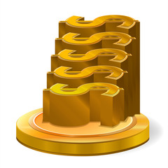 Illustration for Gold Dollar Coin on five step