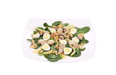 Mushroom salad with walnuts and parmesan.