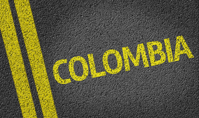 Colombia written on the road
