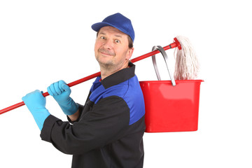 Cleaner with basket and mop.