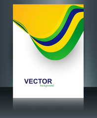 Vector stylish wave brochure template for Brazil flag concept be