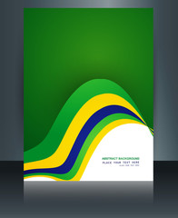 Teamplate Brazil flag concept brochure beautiful reflection wave