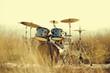 Leinwanddruck Bild - Drum set in the field