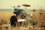 Drum set on fresh air