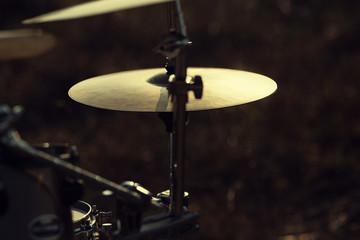 Close up hi-hat on a drum set