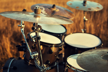 Close up thin crash on a drum set